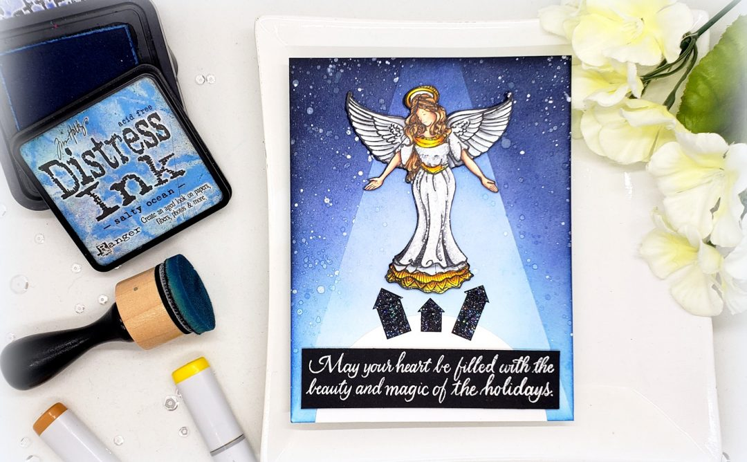 Video: Creating a Spot Light for Holiday Card with Kelly Latevola featuring SBS-166 Joyful Season Angel, SBS-165 Christmas Sentiments #spellbinders #neverstopmaking