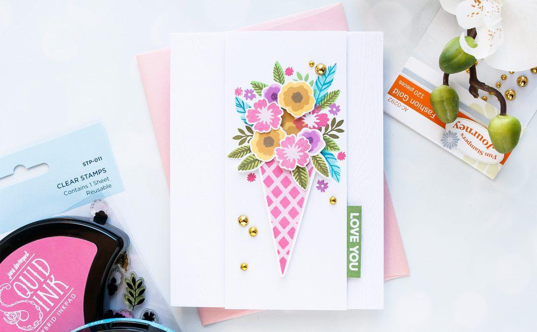 Spellbinders NEW Clear Stamps   Love You Floral Bunch Card #spellbinders #neverstopmaking