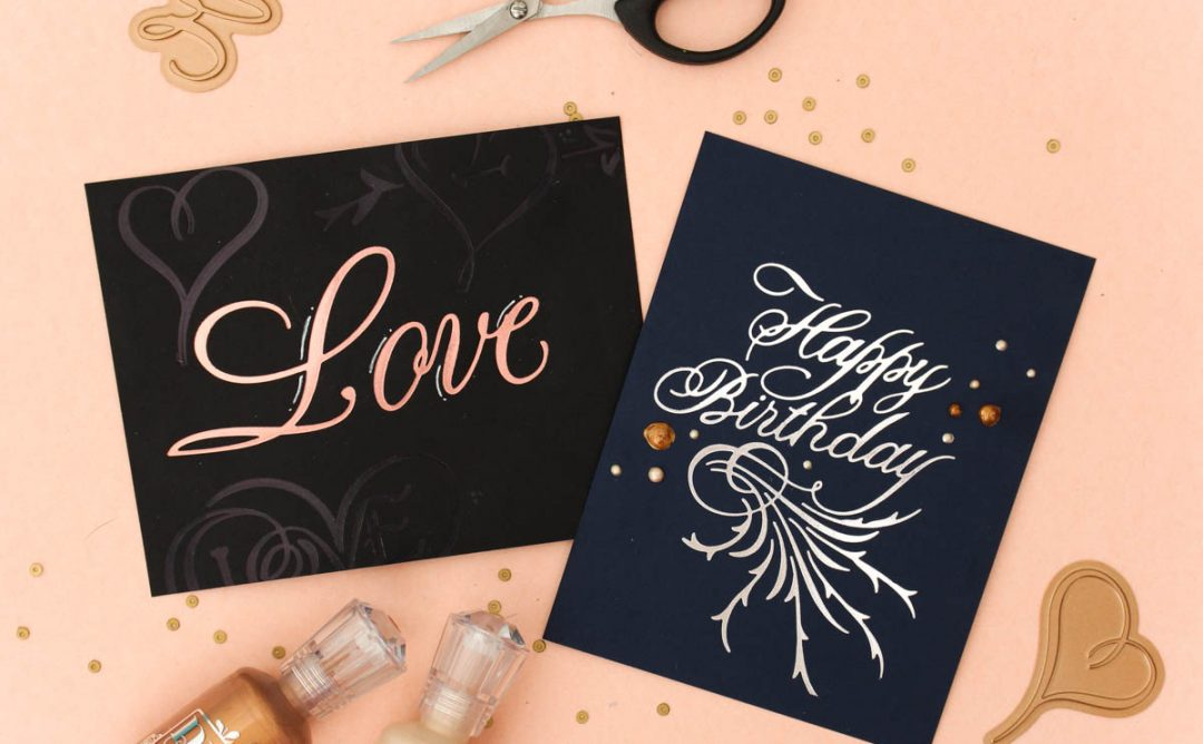 Paul Antonio Glimmer Plates Inspiration | Clean & Simple Love Cards with Zinia