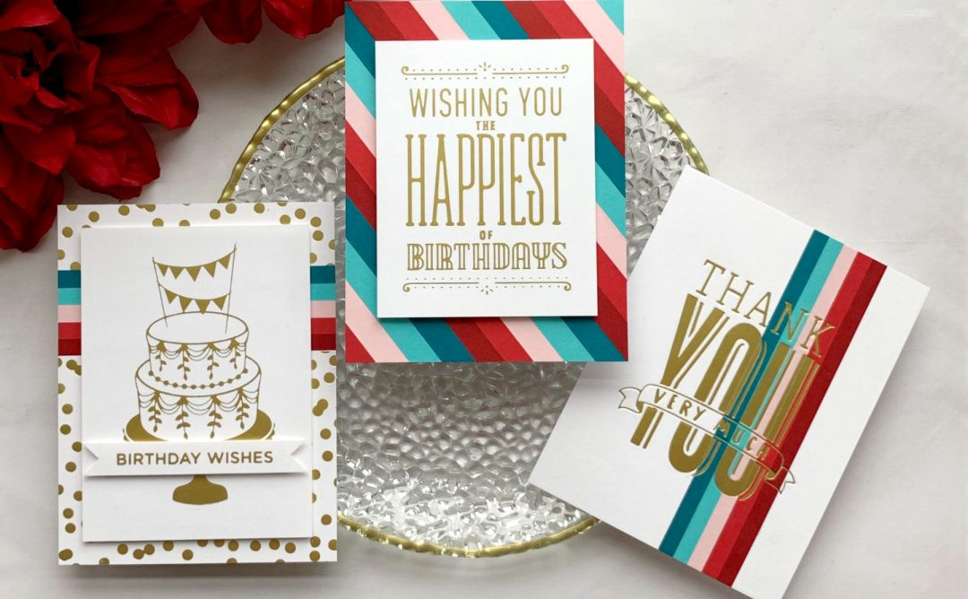 Glimmer Hot Foil Inspiration | Hot Foil Card Trio with Janette Kausen