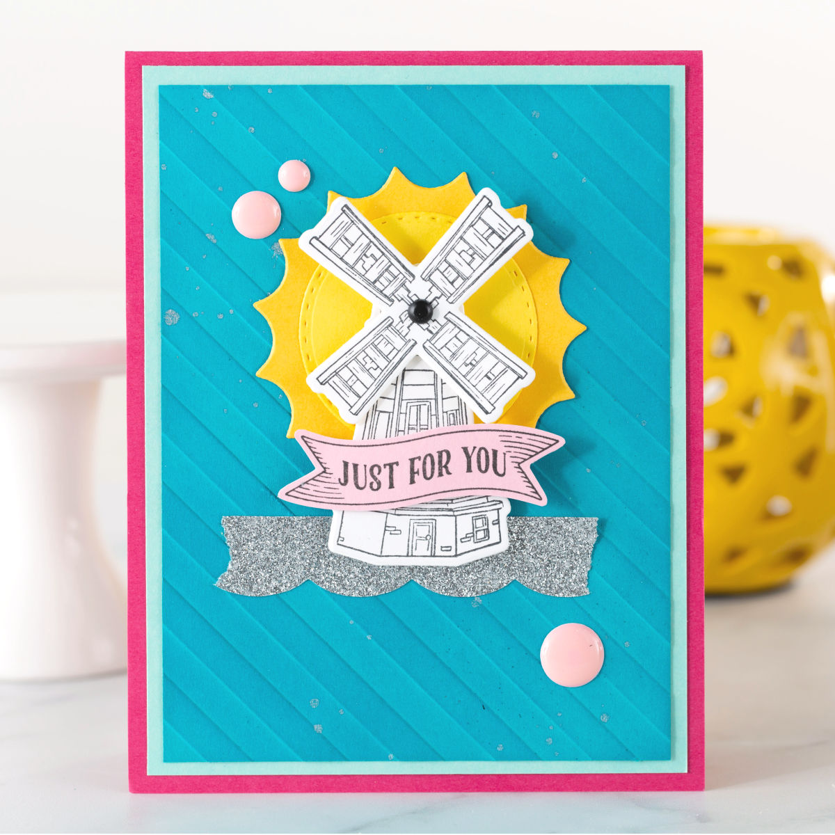 Just For You handmade card with teal, pink, and yellow featuring Fun Stampers Journey's March 2019 Stamp of the Month, Good Places. #funstampersjourney #FSJSOTM #handmadecard