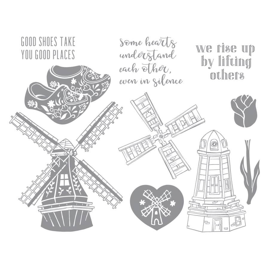 Fun Stampers Journey Stamp of the Month - March 2019, Good Places, features Dutch windmills, wooden clogs, a a tulip along with sweet encouraging sentiments.