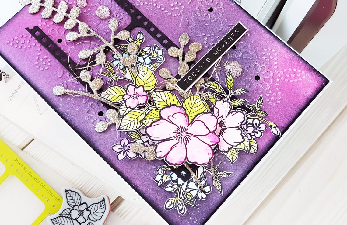 Spellbinders Cut & Emboss Folders Inspiration | Mixed Media Card Tutorial by Nadya Drozdova