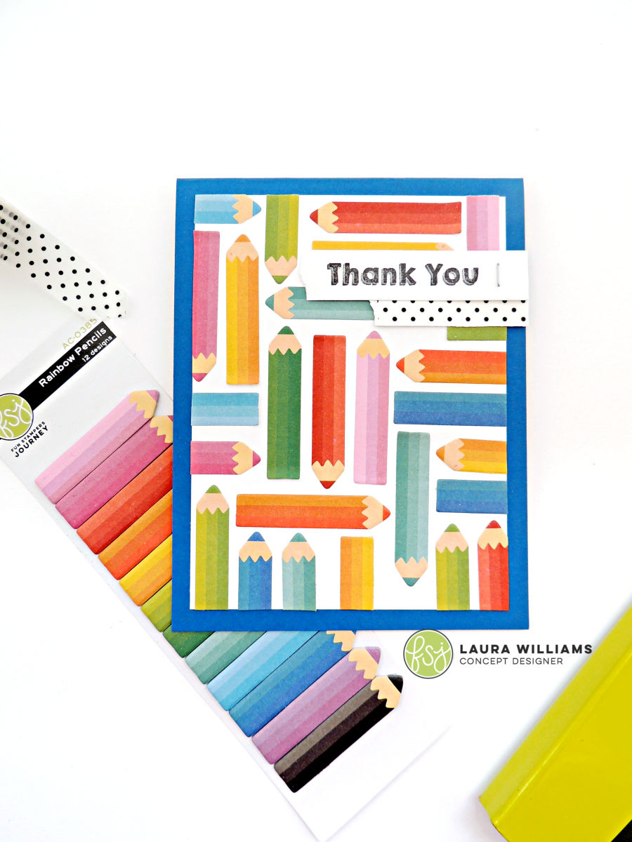 Handmade thank you card with Fun Stampers Journey stamps and Rainbow Pencils Sticky Notes. These self-adhesive pencils are perfect for flagging your calendar or planner, but they look darling on handmade cards and crafts too! #funstampersjourney #handmadecard #thankyoucard #planner