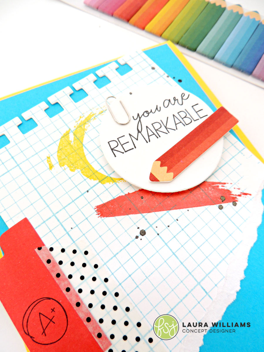 Closeup of You Are Remarkable handmade card with Grid Paper Stamp, Notebook  Paper Die, and Different Strokes Stamp Set from Fun Stampers Journey for an office supply or school supply inspired handmade card #cardmaking #stamping #diecutting #funstampersjourney