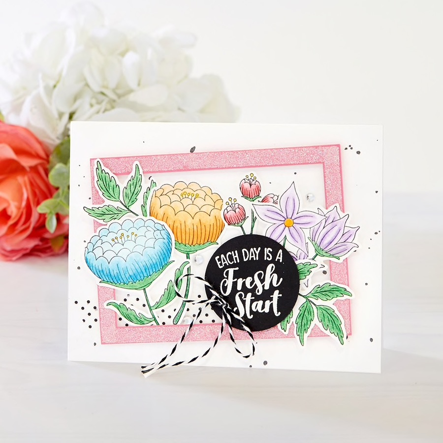 Each Day is a Fresh Start handmade card with Fun Stampers Journey April 2019 Stamp of the Month, called Fresh Start #funstampersjourney #cardmaking