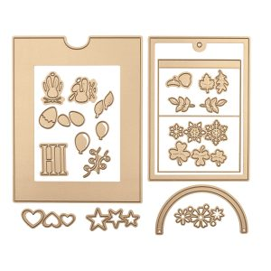 """June 2019 Large Die of the Month is Here – Festive Wreath Slider Card. This die set features """"21"""" dies that are perfect for creating seasonal slider pop-up cards and more!"""