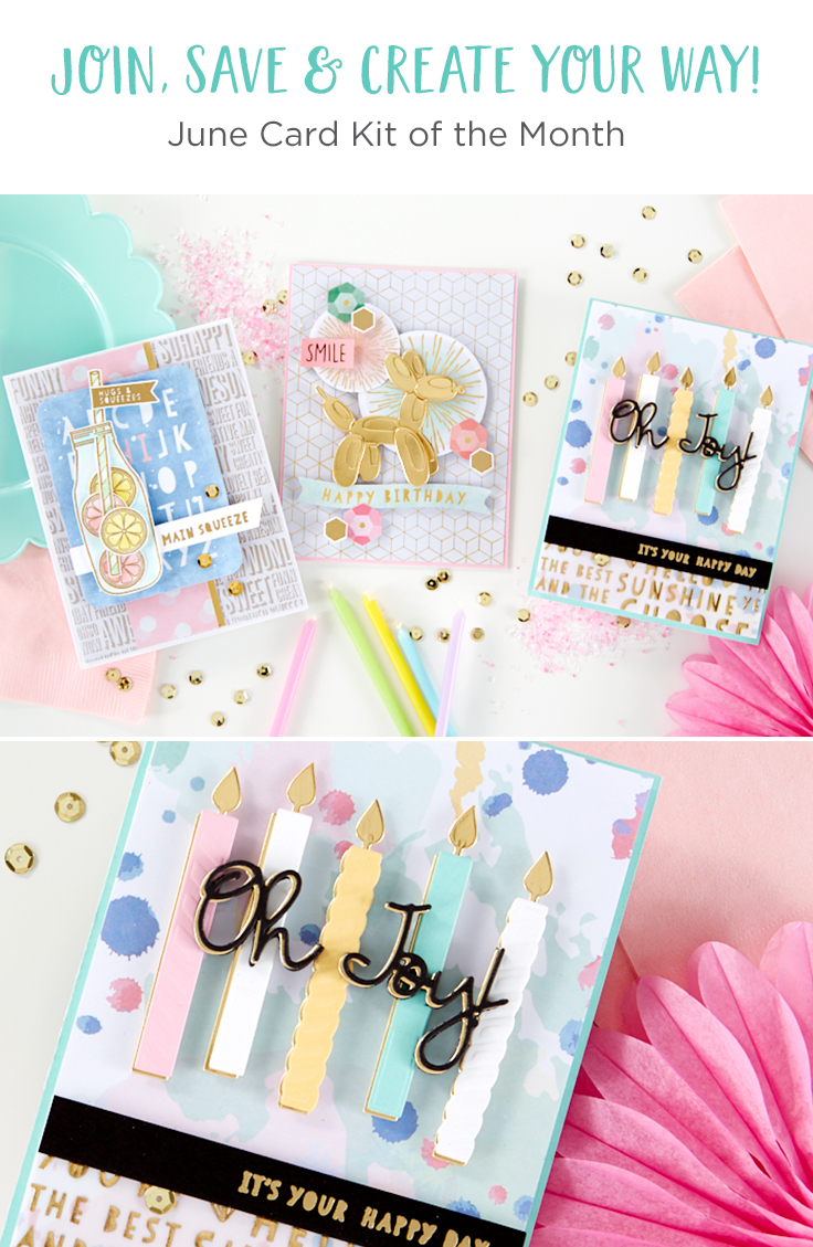 Spellbinders June 2019 Card Kit of the Month is Here – Super Chill. This kit, like all other of our Card Kits, gives you everything you need to create 10 unique handmade cards. You now also get better goodies, including a 40 sheet paper pad, clear stamps, an adorable die set, tons of embellishments, and more!
