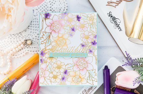 Video: Hot Foil Resist and Watercolor with Flower Pattern Glimmer Hot Foil Plate & Color Sticks by Jane Davenport. Handmade card by Yana Smakula