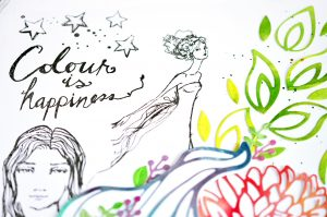 Colous is Happiness Mixed Media piece by Mayline Jung for Spellbinders using Jane Davenport Artomology Collection