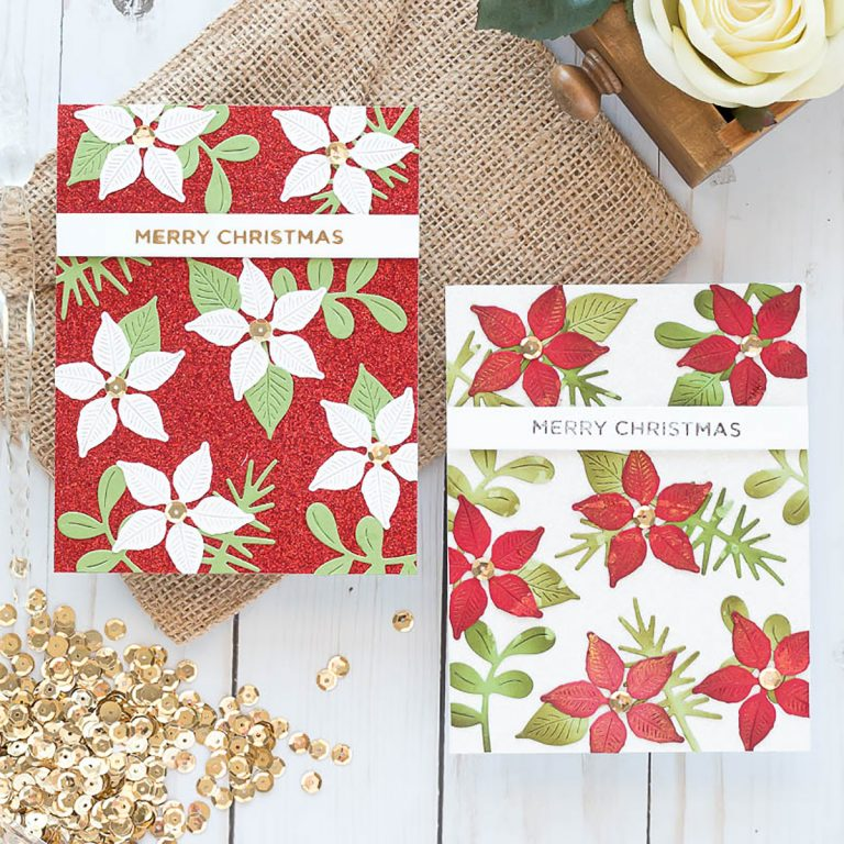 Spellbinders Holiday 2019 Inspiration | Foiled Christmas Cards with Marie. Merry Christmas & Poinsettias handmade cards featuring GLP-100 Ornament Glimmer Set and GLP-111 Holiday Sentiments Glimmer Hot Foil Plate Holiday 2019