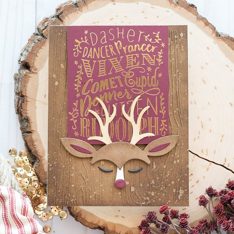 Spellbinders Holiday 2019 Inspiration | Foiled Christmas Cards with Marie. Reindeer Games handmade cards featuring GLP-116 Reindeer Games Glimmer Hot Foil Plate Holiday 2019
