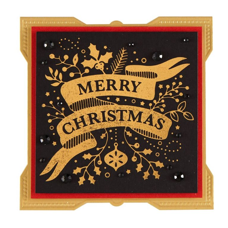 Merry Christmas Banner Glimmer Hot Foil Plate Holiday 2019