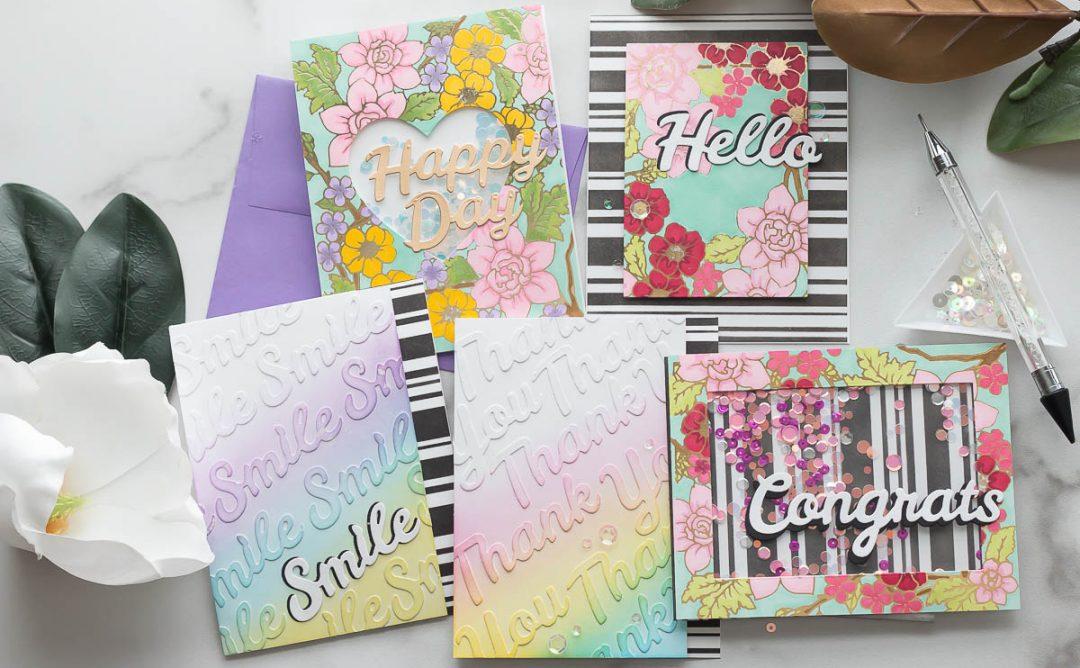 Spellbinders Bold Type Inspiration   Sentiment Dies 5 Ways with Marie Heiderscheit #Spellbinders #NeverStopMaking #DieCutting