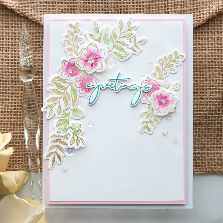 Spellbinders Yana's Foiled Basics collection by Yana Smakula | Foiled Card Ideas with Marie Heiderscheit | Video tutorial #YSFoiledBasics #GlimmerHotFoilSystem #Spellbinders #HotFoiling