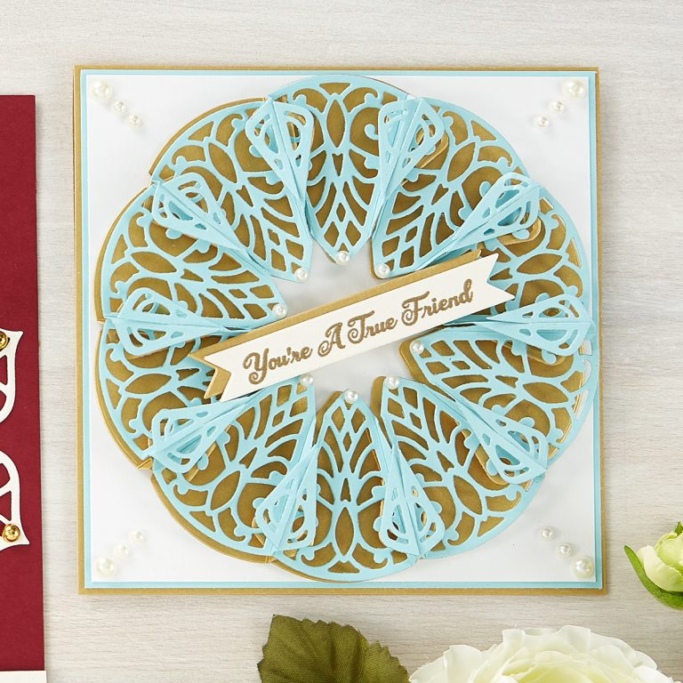 What's New at Spellbinders | Dimensional Doily Collection by Becca Feeken | Dimensional Doily Collection is full of intricate lace designs inspired by vintage doilies. Becca Feeken brings an innovative twist to each set with an interlocking feature that connects the elements to create these beautiful shapes. #Spellbinders #NeverStopMaking #DieCutting #Cardmaking