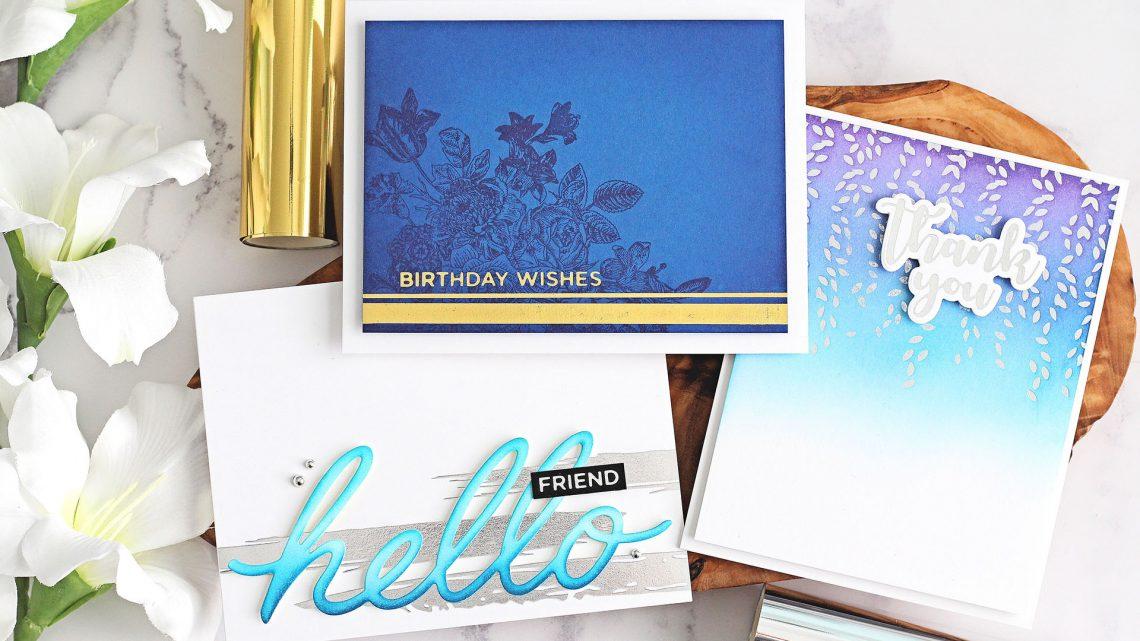 The Effortless Greetings Project Kit | Cardmaking Inspiration with Michelle Short | Video tutorial #Spellbinders #NeverStopMaking #GlimmerHotFoilSystem #Cardmaking