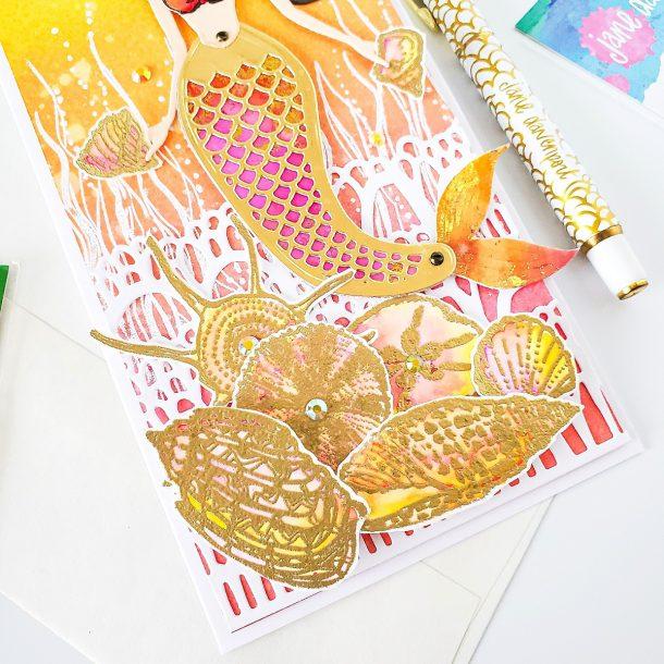 Marvelous Mermaids Collection by Jane Davenport | Slimline Mermaid Birthday Card with Yasmin Diaz