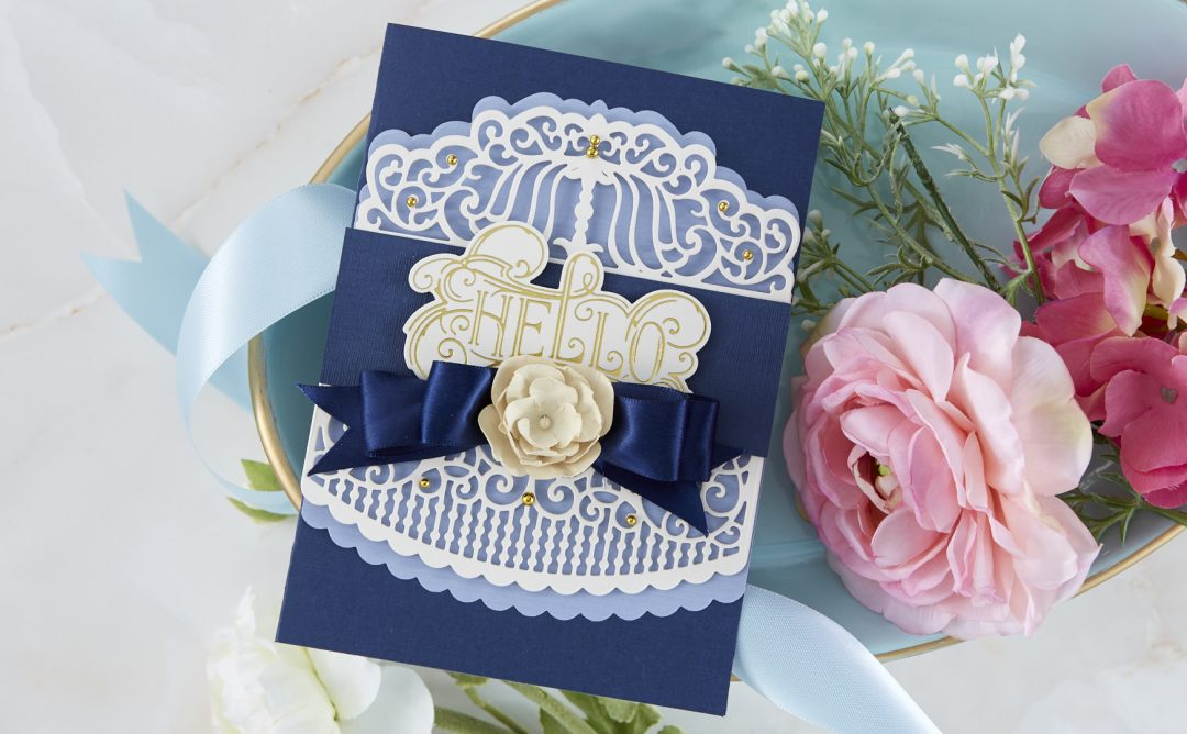 Cardmaking Inspiration | Hello Card Featuring Candlewick Colonnade Border with Kim Kesti