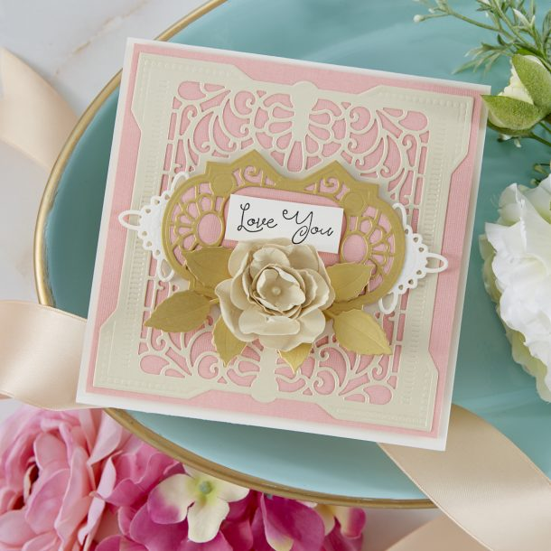 Spellbinders Cardmaking Inspiration | Love You Card Featuring Grand Antiquities Square with Kim Kesti #Spellbinders #NeverStopMaking