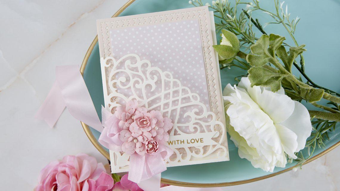 Spellbinders Cardmaking Inspiration   With Love Card Featuring Candlewick Grand Pocket with Kim Kesti #Spellbinders #NeverStopMaking #GlimmerHotFoilSystem