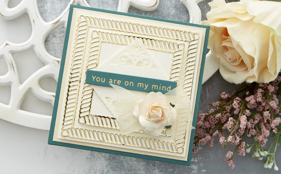 Cardmaking Inspiration | On My Mind Card Featuring Elegant Twist Squares by Becca Feeken