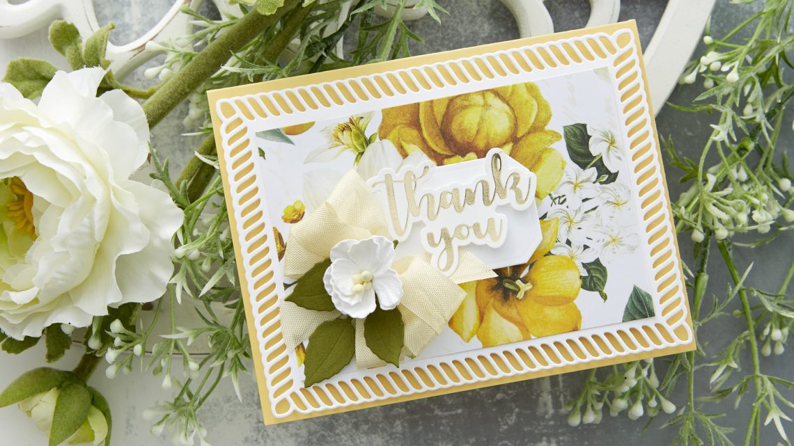 Spellbinders Cardmaking Inspiration | Thank You Card Featuring Elegant Twist Collection by Becca Feeken #Spellbinders #NeverStopMaking #Cardmaking #AmazingPaperGrace