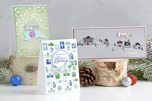 Spellbinders Yana's Christmas Foiled Basics Collection by Yana Smakula – Adding Touches of Color with Annie Williams #spellbinders #NeverStopMaking #GlimmerHotFoilSystem #Cardmaking #Christmascardmaking