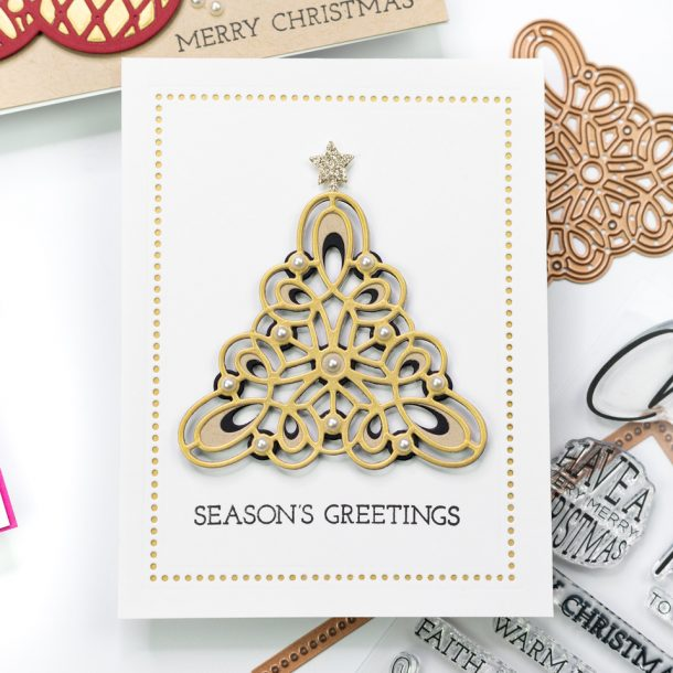 The Spellbinders Christmas Project Kit | Cardmaking Inspiration with Jennifer Bolton | Video tutorial | Kaleidoscope Christmas Tree Card #Spellbinders #NeverStopMaking #Cardmaking #Diecutting #Christmascardmaking