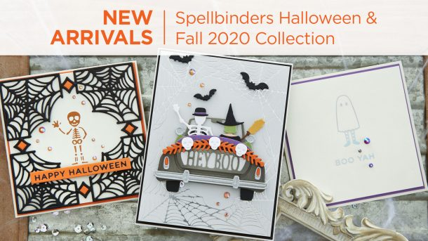 What's New | Spellbinders 2020 Halloween and Fall Collection. Everyone has a favorite autumn element…whether the changing of the leaves or the fun of Halloween decorating and costumes, this collection of etched dies and Glimmer plates will check off all the boxes! #Spellbinders #NeverStopMaking #DieCutting #GlimmerHotFoilSystem #Cardmaking