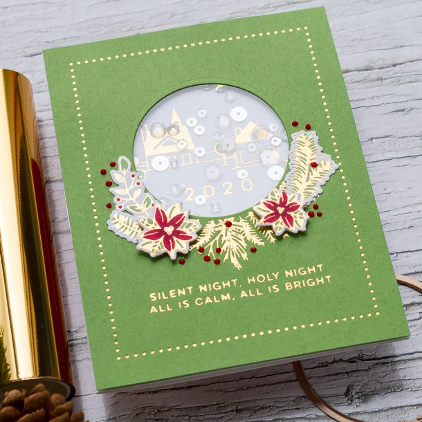 Elegant Foiled Handmade Christmas Cards with Ilda Dias for Spellbinders featuring Yana's Christmas Foiled Basics Collection by Yana Smakula #Spellbinders #NeverStopMaking #GlimmerHotFoilSystem #Cardmaking #Christmascardmaking