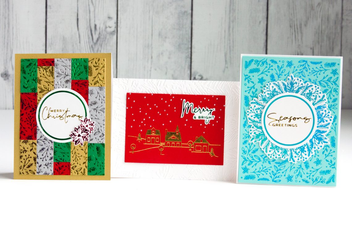 Elegant Christmas Foiled Cards with Jean Manis for Spellbinders featuring Christmas Foiled Basics Collection by Yana Smakula #Spellbinders #NeverStopMaking #GlimmerHotFoilSystem #Cardmacking #Christmacking