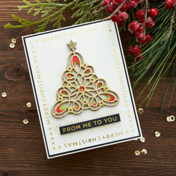S4-1064 Kaleidoscope Christmas Tree: Although we don't like to pick a favorite, this may be close to the top of our list from this year's collection. Die cut the 3 layers and adhere together for a brilliant layered effect…don't forget the star topper that is included! What's New | Spellbinders Sparkling Christmas Collection #Spellbinders #NeverStopMaking #DieCutting #Cardmaking #GlimmerHotFoilSystem #Christmas