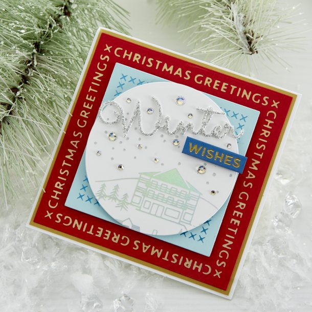 "GLP-181 Christmas Essential Glimmer Squares: Create the shiniest of framed or layered elements with this set of 4 Glimmer plates. Use with the Essential Squares die set (S4-1037) to layer and frame any stamp or die set. Add that professional, foiled extra ""something"" to your Christmas cards this year! What's New 