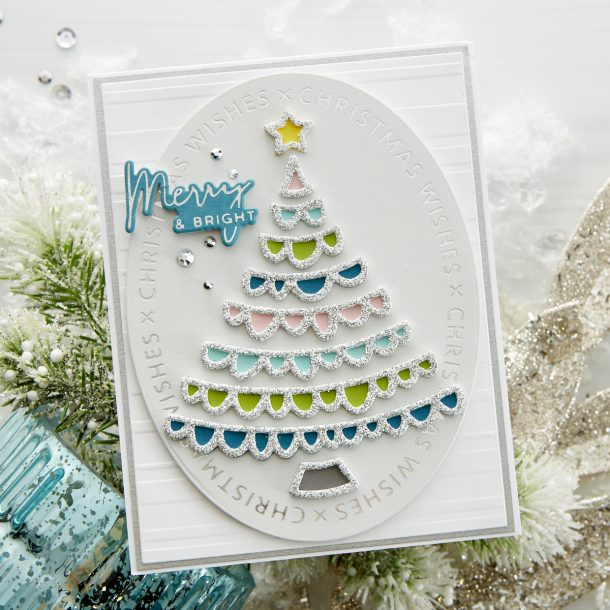 "GLP-182 Christmas Essential Glimmer Ovals: Send lots of kisses with the ""X's"" and sentiments that make up this 3 Glimmer plate set. Create a foiled card base or die cut ovals using the Essential Oval die set (S4-1038) to create stunning Christmas cards. What's New 