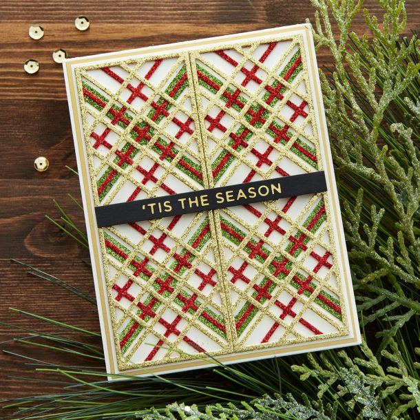 "S4-1063 Kaleidoscope Plaid: This ""evergreen"" plaid pattern can be used for any time of year. Die cut and layer 4 of them to fill an A2 card front or just by itself with a sentiment for a stunning holiday tag. The possibilities are endless with this set. What's New 