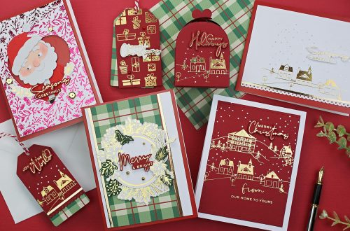 Spellbinders Yana's Christmas Foiled Basics Collection by Yana Smakula - project inspiration with Bibi Cameron #spellbinders #NeverStopMaking #GlimmerHotFoilSystem #Cardmaking #Christmascardmaking