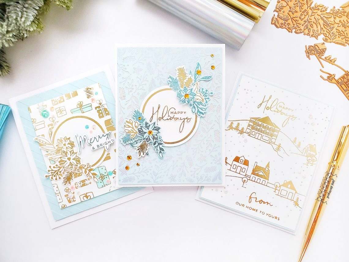 Spellbinders Yana's Christmas Foiled Basics Collection by Yana Smakula - Foiled Christmas Cards with Yasmin Diaz #Spellbinders #NeverStopMaking #GlimmerHotFoilSystem #Cardmaking #ChristmasCardmaking