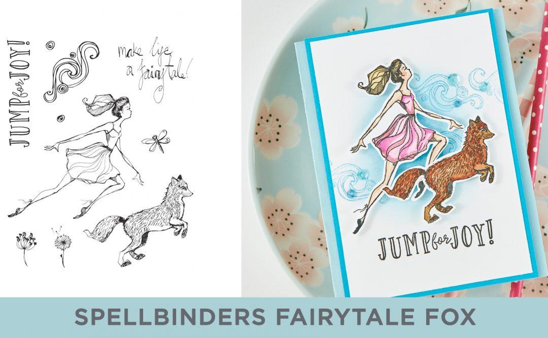 Spellbinders Cardmaking Inspiration | Jump For Joy Card Featuring Jane Davenport Clear Stamps Fairytale Fox (JDS-052) with Kim Kesti #Spellbinders #Cardmaking #NeverStopMaking #Stamping