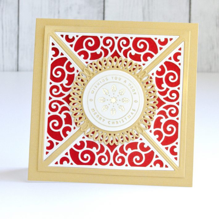 Spellbinders Becca Feeken Picot Petite Collection - Elegant CAS Christmas Cards with the Picot Petite Collection by Jean Manis #Spellbinders #NeverStopMaking #AmazingPaperGrace #DieCutting #Cardmaking