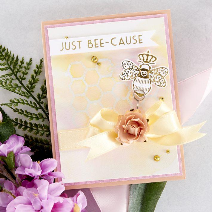 Spellbinders Becca Feeken Sweet Cardlets Glimmer Project Kit - Just Bee-Cause Card #Spellbinders #NeverStopMaking #DieCutting #Cardmaking #GlimmerHotFoilSystem
