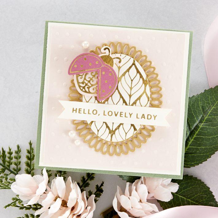 Spellbinders Becca Feeken Sweet Cardlets Glimmer Project Kit - Hello Lovely Lady Card #Spellbinders #NeverStopMaking #DieCutting #Cardmaking #GlimmerHotFoilSystem