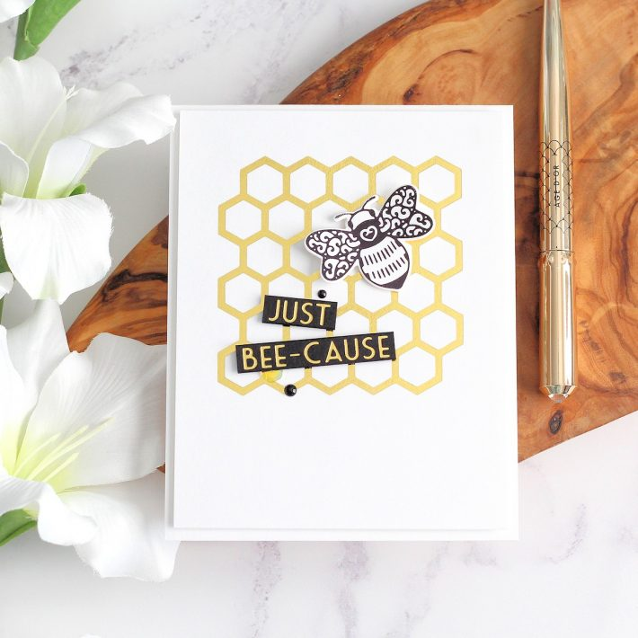 Becca Feeken Sweet Cardlets Glimmer Project Kit | Cardmaking Inspiration with Michelle Short | Video Tutorial | Just Bee-cause Card #NeverStopMaking #DieCutting #Cardmaking #GlimmerHotFoilSystem