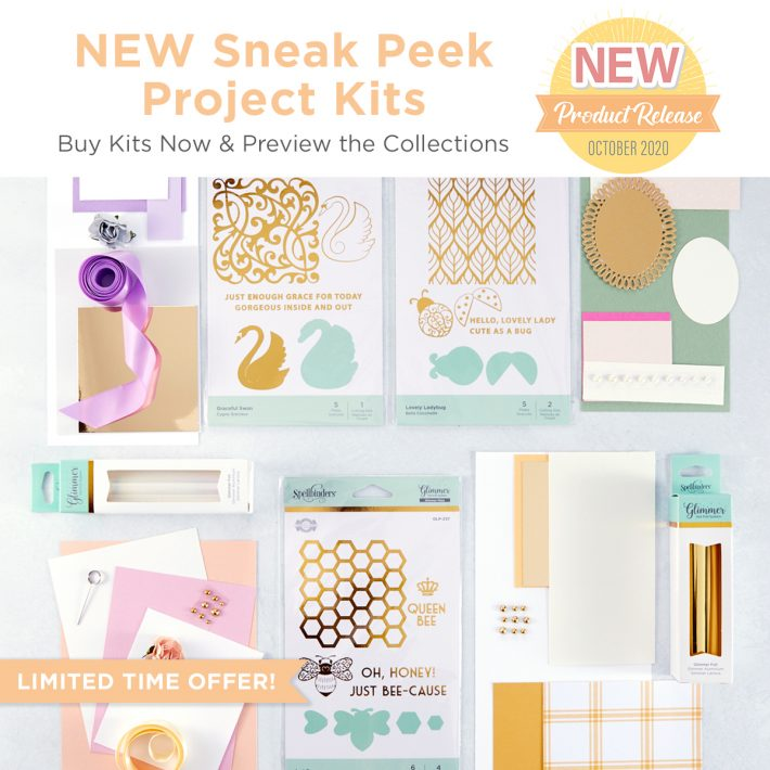 Spellbinders Becca Feeken Sweet Cardlets Glimmer Project Kit #NeverStopMaking #DieCutting #Cardmaking #GlimmerHotFoilSystem