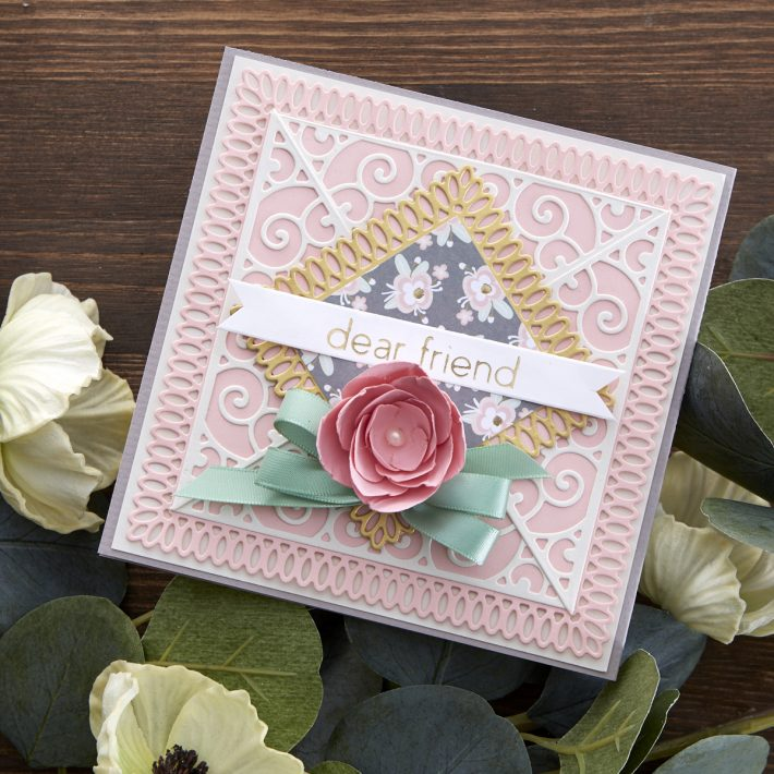 What's New at Spellbinders | Picot Petite Collection by Becca Feeken. S5-432 Picot Petite Squares #Spellbinders #NeverStopMaking #AmazingPaperGrace #DieCutting #Cardmaking