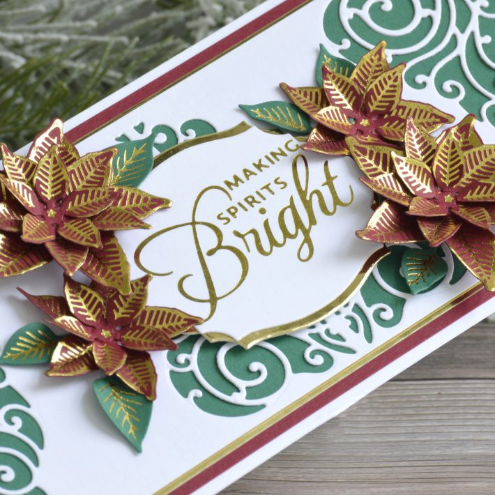 Spellbinders Becca Feeken Picot Petite Collection - Cardmaking Inspiration with Annie Wiliams. Making Spirits Bright Christmas Card #Spellbinders #NeverStopMaking #AmazingPaperGrace #DieCutting #Cardmaking