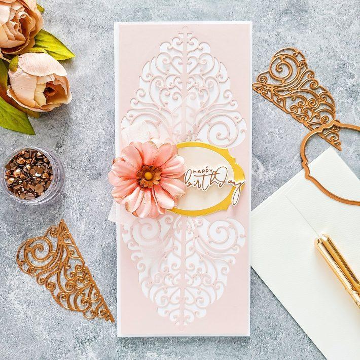 Spellbinders Becca Feeken Picot Petite Collection - Cardmaking Inspiration with Yasmin Diaz. Slimline Happy Birthday Card #Spellbinders #NeverStopMaking #AmazingPaperGrace #DieCutting #Cardmaking